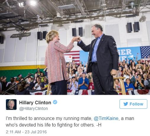 Clinton twitting her choosing Kaine